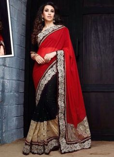 Karishma Kapoor Black N Hot Red Reception Wear Half N Half Saree http://www.angelnx.com/Sarees/Bollywood-Sarees