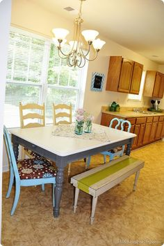 mis-matched kitchen table and chairs w/bench perfect for crafting