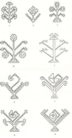 Embroidery Patterns, Knots, Folk, Cross Stitch, Restaurant Ideas, Traditional, Sewing, Pj, Floral