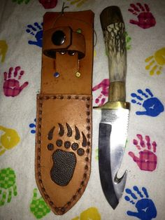 Skinning knife with gut hook by TwoFeathersTrading on Etsy, $65.00
