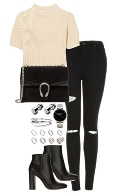"""Untitled #2178"" by theeuropeancloset ❤ liked on Polyvore featuring Topshop, Totême, Gianvito Rossi, Gucci, Nixon, ASOS and C. Wonder"