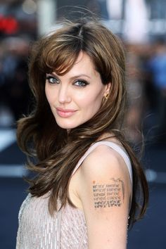 Angelina Jolie Pink Lipstick - Angelina's full lips were painted in a soft pink for the UK premiere of 'Salt.'