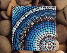 "Tablero, pintura acrílica, agua arte de la lona del agua diseño, pintura aborigen australiana de punto, Biripi artista Raechel Saunders, 4 ""x 4"""