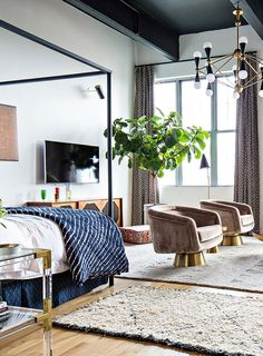 The Brooklyn loft of Jonathan Adler's Director of Interiors, Benjamin Brougham, featured on Design Sponge. A great shot of his pair of JA Bacharach Swivel Chairs.