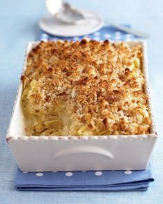 Martha Stewart's Macaroni with Three Cheeses. A restaurant in Doylestown makes this with crumbled potato chips on top. I think I'll try it that way - instead of with white bread.