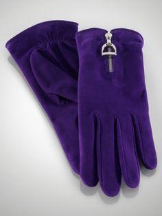 Suede Equestrian Zip Gloves - Ralph Lauren Hats, Gloves & Scarves - RalphLauren.com