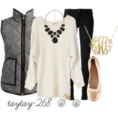 Stylish monochromatic casual winter outfit. Plain black pants, cream soft sweater, quilted puffer vest and some elegant accessories to complete the look!