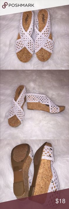 "New Lucky Brand Wedge Sandals New Lucky Brand Wedge Sandals. Size 6 1/2. 3 1/2"" heel. Super cute and in excellent condition! Fabric is stretch and the color is off white. Lucky Brand Shoes Wedges"