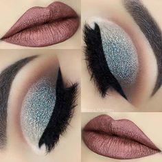 Icy Blue Glitter Eyes + Metallic Lips Makeup Idea