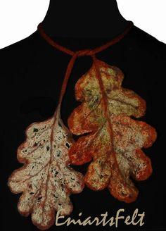 Felt necklace skeleton oak leaves  Felt accessory  by EniartsFelt