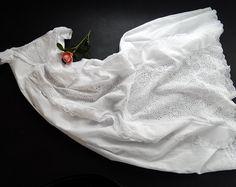 Vestido de bautizo vintage de estilo victoriano inglés con mano trabajaban Broderie Anglaise