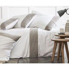 Housse de couette blanche plissé taupe - 100% coton