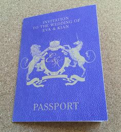 Passport style wedding invitations - we can create on any colour.