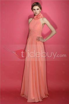 Charming A-Line Halter Flowers Sleeveless Floor-length Dasha's Bridesmaid Dress
