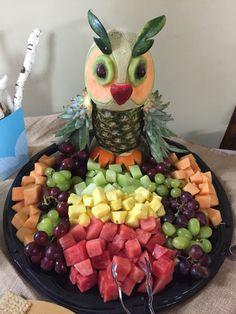 Woodland themed baby shower Owl fruit tray