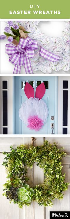 Welcome friends and family with a festive Spring wreath. Adorn your door with bright, fresh colors and floral. Get the tutorials to make these wreaths and all of your supplies at Michaels.com