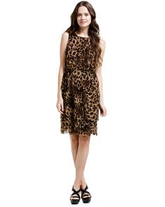 Kay Unger New York Beige Leopard Tiered Dress