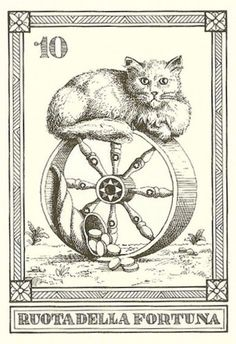 """Ruota della Fortuna"" -- Gatti, by Osvaldo Menegazzi. The deck of 22 tarot cards was published by Il Meneghello in Italy in Diy Tarot Cards, Tarot Major Arcana, Oracle Tarot, Cat Signs, Wheel Of Fortune, Art For Art Sake, Tarot Decks, Cat Art, Illustration Art"