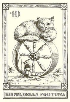 """""""Ruota della Fortuna"""" -- Gatti, by Osvaldo Menegazzi. The deck of 22 tarot cards was published by Il Meneghello in Italy in 1990."""
