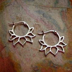 Sterling Silver Earrings Lotus Flower Hoop