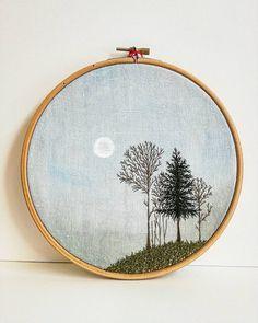 - Soleil d'hiver - pièce unique - mixed media - combination of watercolour art + embroidery