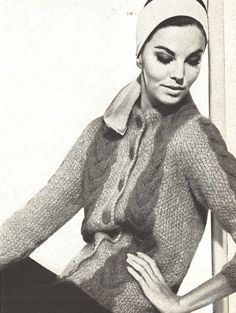 Mohair Cardigan • 1960s Knitting Cabled Sweater Coat Jacket Pattern • Vintage Vogue Cable Knit •  1961 Woman's Digital PDF by TheStarShop on Etsy