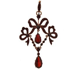Pre-owned Bohemian Garnet Pendant ($2,350) ❤ liked on Polyvore featuring jewelry, necklaces, garnets, drop necklaces, boho necklace, charm pendant, drop necklace, charm necklace and victorian necklace