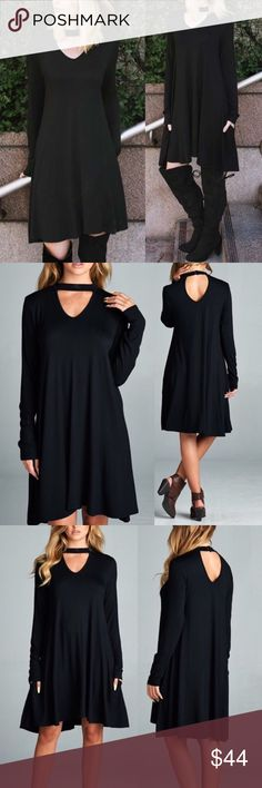 "🆕ARRIVAL! Black rayon shift dress with pockets Solid Black rayon spandex shift dress with front and back opening Features: Hidden pockets easy to wear, pull over style Made in USA Material: 95% Rayon, 5% spandex Two back accent buttons   Measurements:  Small (S): Armpit to Armpit: 17.5"" Bust upto 36"" Length: 35""  Medium (M): Armpit to Armpit: 18.5"" Bust upto 38"" Length : 35""  Large (L): Armpit to Armpit: 19.5"" Bust upto 40"" Length : 35.5""  Extra-Large (XL): Armpit to Armpit: 20.5"" Bust upto…"