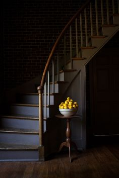 Simplistic Elegance - Shaker Village of Pleasant Hill, KY Interior Stairs, Shaker Furniture, Staircase Design, Interior Design Inspiration, Foyer Decorating, Dark Staircase, Dark Interiors, Stairs, Shaker Style