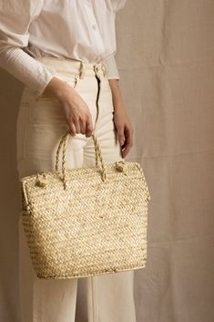Plaited palm leaves handmade handbag from Mallorca