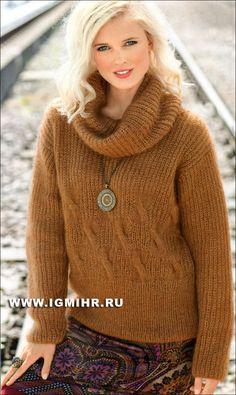 Легкий, мягкий и теплый пуловер из полупатентного узора и кос. Спицы
