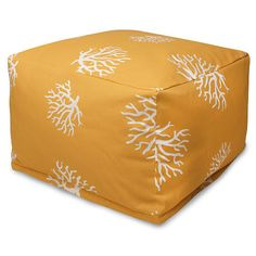 Majestic Home Goods Large Ottoman - Yellow Coral