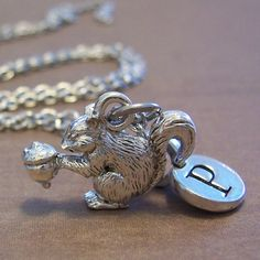 Squirrel Pendant & Personalized Custom Single Initial Disc Charm Silver Necklace, $19 by 'FiftyEighteen' on Etsy.Com