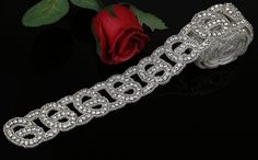 QueenDream 1 yard applique accessory for wedding belt Christmas Rhinestone Crystal Applique pearl beaded applique enbellishment princess DIY Pearl Applique trim * Be sure to check out this awesome item.