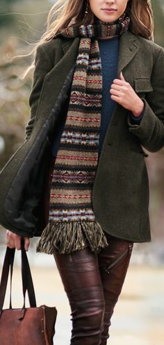The New Heritage: A colorful Fair Isle pattern and knotted-fringe ends give this ultra-soft wool scarf a heritage-inspired look. Its long silhouette can be wrapped multiple times around your neck for cozy warmth.