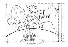 cute house home sweet home with tree and I would like to do this pic with dotted line outlining everything to look like a needle point. Wool Applique, Applique Quilts, Embroidery Applique, Cross Stitch Embroidery, Hand Embroidery Patterns, Applique Patterns, Quilt Patterns, Coloring Books, Coloring Pages