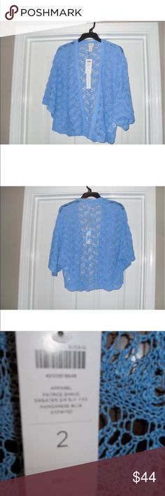 """CHICO'S - Patrice Shrug Cardigan with 3/4 NWT CHICO'S - Patrice Shrug Cardigan with 3/4 sleeves. NWT  Color: Manganeses Blue  SIZE: 2 (12-14) Material;  39% LInen, 35% Cotton , 13% Rayon & 13% Nylon  Bust: 50"""" Length: 21"""" Sleeves: 10""""  Retail: $99.00  Smoke & Pet free home Chico's Sweaters Shrugs & Ponchos"""