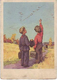 1956. Худ. С.Куприянов. Журавли