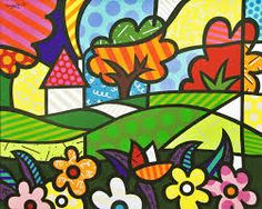 Countryside pop-art by Romero Britto Arte Pop, Pop Art, Paper Architecture, Graffiti Painting, Collaborative Art, Naive Art, Art Plastique, Elementary Art, Art Lessons
