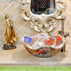 Factory cheap price floral rim handmade ceramic sink for washing accessories Wash Basin Counter, Counter Top, Ceramic Sink, Ceramic Clay, Glaze, Decorative Bowls, Pottery, Floral, Handmade