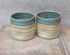 Pair of whisky shot or espresso coffee cups in stoneware hand thrown ceramic pottery