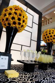 Black, white and sunflower yellow brighten up every party space! Bat Mitzvah {Evantine Design, Photo: Gabe Fredericks}