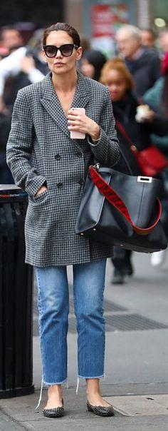 5014e61bae06 Who made Katie Holmes  gray plaid blazer and black tote handbag  Katie  Holmes