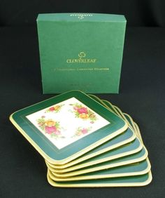 6 Royal Albert Old Country Roses Cork Backed Laminate Coasters Boxed VGC