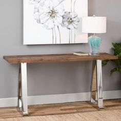 The Uttermost Hesperos Wooden Console Table takes its name from the Greek for evening, or the evening star, Venus. You'll find this console. Rustic Mirrors, Rustic Wall Decor, Accent Furniture, Living Room Furniture, Wooden Furniture, Home Office, Wooden Console Table, Console Tables, Wooden Benches