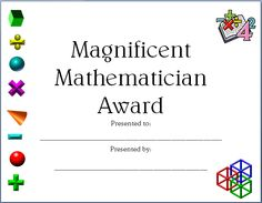 Completely editable math certificate for elementary and middle school math students. $0.75