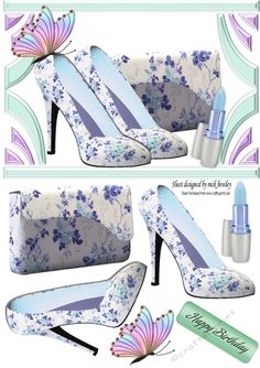 pretty blue floral shoes and handbag with butterfly A5, Makes a pretty card, can be seen in other colours