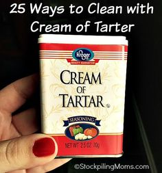 Did you know you could clean with a spice from your pantry? Yes you can and here are 25 Ways to Clean with Cream of Tartar. I hardly use Cream of Tartar in recipes, but Household Cleaning Schedule, House Cleaning Tips, Cleaning Hacks, Household Tips, Cleaning Lists, Cleaners Homemade, Diy Cleaners, Household Cleaners, Homemade Cleaning Products