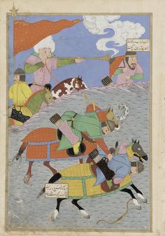 Folio from a Shahnama (Book of kings) by Firdawsi; recto: Battle between Zanga and Awkhast; verso:Battle of Gorgin and Andariman 1493-1494 Turkoman period Opaque watercolor, ink and gold on paper H: 34.6 W: 24.3 cm Gilan, Iran