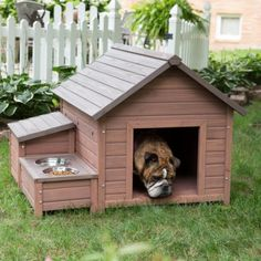 Large Outdoor Dog House Wooden Kennel Puppy Shelter w/Food Bowls Storage Box…